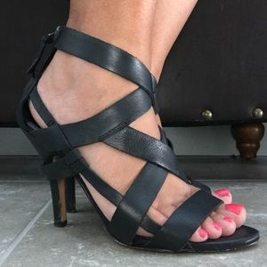 Black strappy leather Bebe heels - size 7
